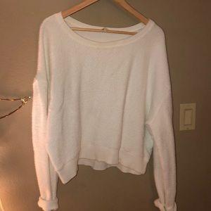 Wide neck white sweater size medium